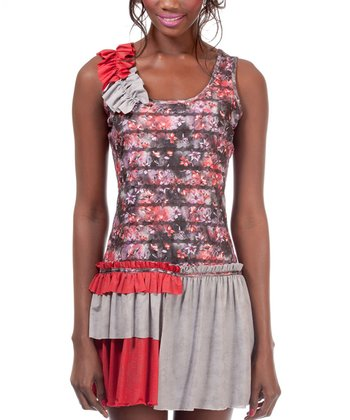 Red & Gray Ruffle Bass Dress