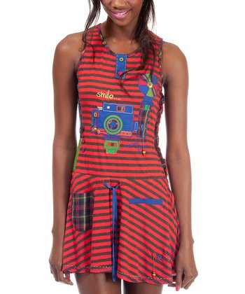 Red & Black Stripe Timi Sleeveless Dress