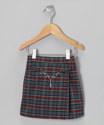 Gray & Red Chain Plaid Skort - Toddler & Girls