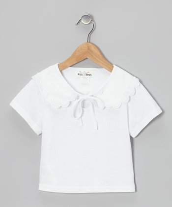 White Lace Collar Top - Girls