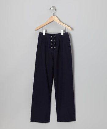 Navy Lace-Up Straight-Leg Pants - Girls