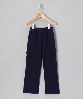 Navy Flare Cargo Pants - Girls
