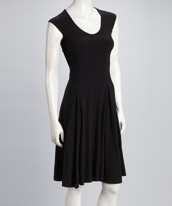Black Pleated Cap-Sleeve Dress