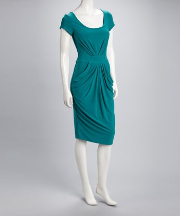 Jade Gathered Scoop Neck Dress