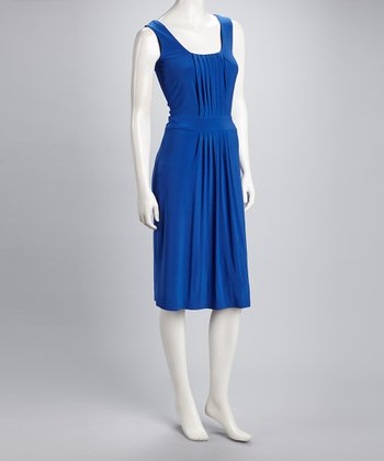 Royal Blue Vintage Pleated Sleeveless Dress