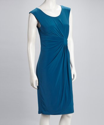 Teal Sideswept Sleeveless Dress