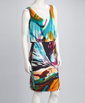 Aqua & Orange Blouson Sleeveless Dress