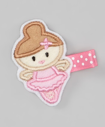 Brown-Haired Pink Ballerina Felt Clip