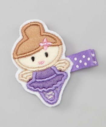 Brown-Haired Purple Ballerina Felt Clip