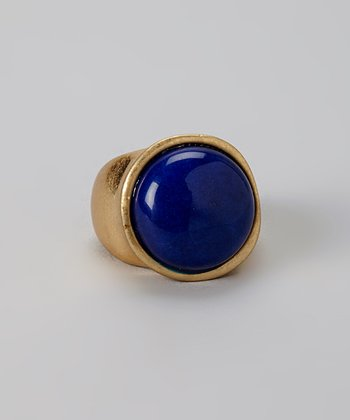 Blue & Gold Round Stone Ring