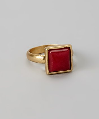 Red & Gold Square Stone Ring