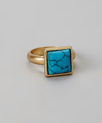 Turquoise & Gold Square Stone Ring