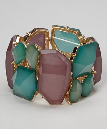 Turquoise & Purple Stretch Bracelet