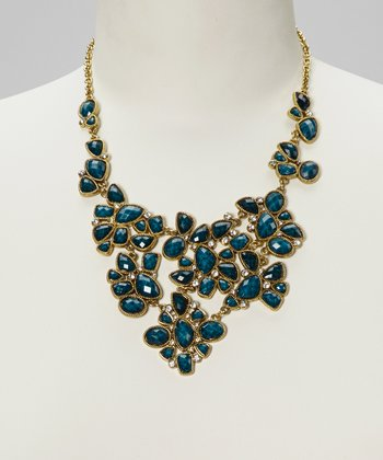 Blue & Gold Bib Necklace