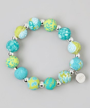 Lime & Silver Ball Stretch Bracelet