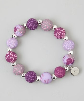 Lilac & Silver Ball Stretch Bracelet