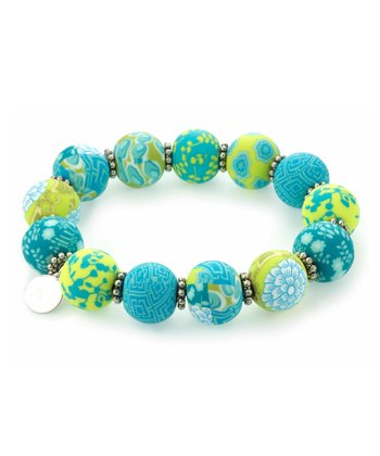 Lime & Antique Bead Stretch Bracelet