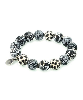 Black & White Keepsake Stretch Bracelet
