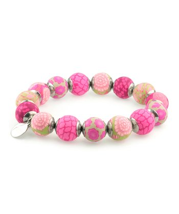 Berry Capped Bead Stretch Bracelet