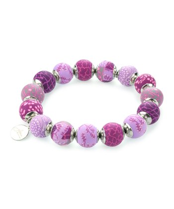 Lilac Capped Bead Stretch Bracelet