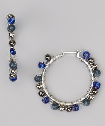 Blue Cordova Bead Hoop Earrings