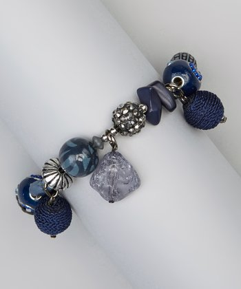 Blue Cordova Bead Stretch Bracelet