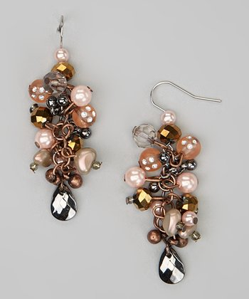 Pink Champagne Bead Cluster Earrings