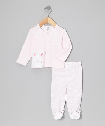 BF From Brooks Fitch Pink Bunny Cardigan & Footie Pants