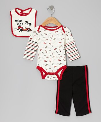 BF From Brooks Fitch Red & Black 'Speed Zone' Bodysuit Set