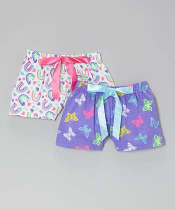 Purple Butterfly & White Rainbow Boxer Set - Toddler