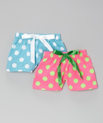 Blue & Hot Pink Polka Dot Boxer Set - Toddler