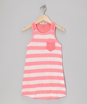 Hot Pink Stripe Racerback Tank - Girls