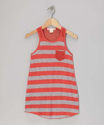 Red Stripe Racerback Tank - Girls