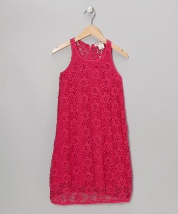 Passion Pink Crocheted Flowers Dress - Girls