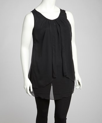 Black Sheer Scoop Neck Tunic - Plus