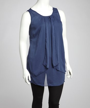 Navy Sheer Scoop Neck Tunic - Plus