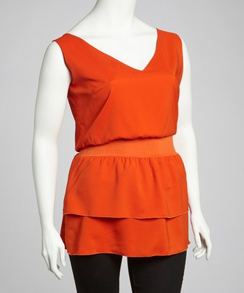 Orange Ruffle Sleeveless V-Neck Top - Plus