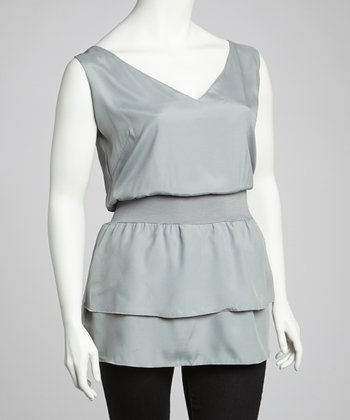 Silver Ruffle Sleeveless V-Neck Top - Plus