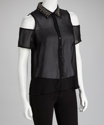 Black Stud Cutout Button-Up