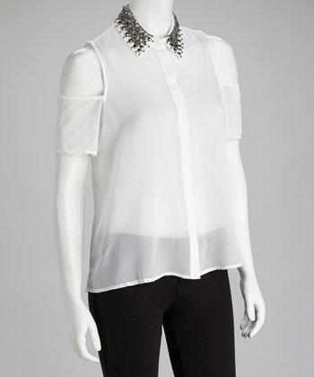 White Stud Cutout Button-Up