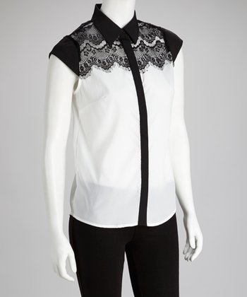 Off White & Black Lace Button-Up