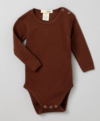 Out-on-the-Town Brown Long-Sleeve Bodysuit - Infant