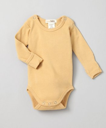 Show-and-Tell Caramel Gl'oved-Sleeve Bodysuit - Infant