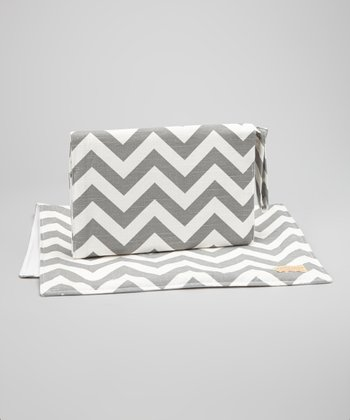 Gray Zigzag Diaper Clutch