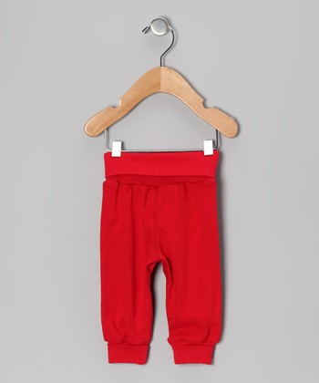 Red Rolled-Waist Pants - Infant
