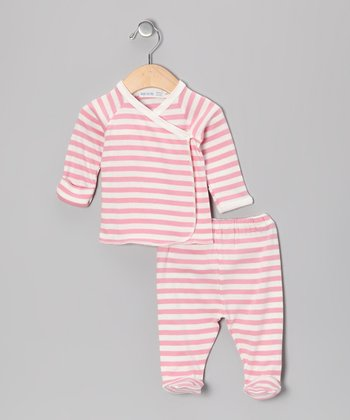 Pink Stripe Wrap Top & Footie Pants