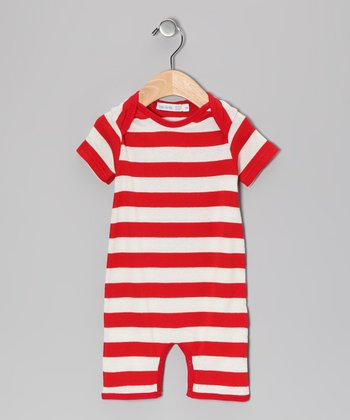 Red Rugby Stripe Romper - Infant