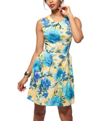 Turquoise & Yellow Blossom Print Gathered Sleeveless Dress