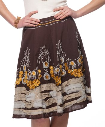 Brown & Yellow Moroccan Print Skirt