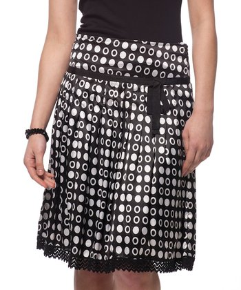 Black & White Circle Print Tied A-Line Skirt